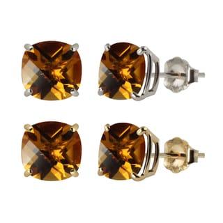10k White or Yellow Gold 6mm Checkerboard Cushion Citrine Stud Earrings - Orange