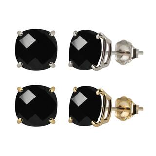 10k White or Yellow Gold 6mm Checkerboard Cushion Black Onyx Stud Earrings|https://ak1.ostkcdn.com/images/products/11737481/P18655541.jpg?impolicy=medium