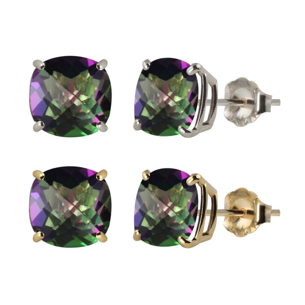 10k White Or Yellow Gold 6mm Checkerboard Cushion Mystic Topaz Stud Earrings