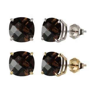 10k White or Yellow Gold 6mm Checkerboard Cushion Smoky Quartz Stud Earrings
