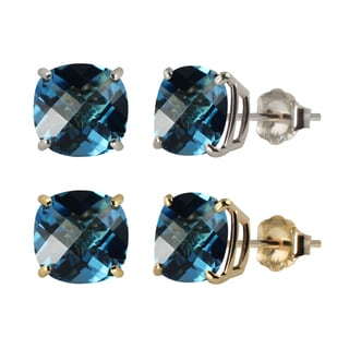 10k White or Yellow Gold 6mm Checkerboard Cushion Swiss Blue Topaz Stud Earrings