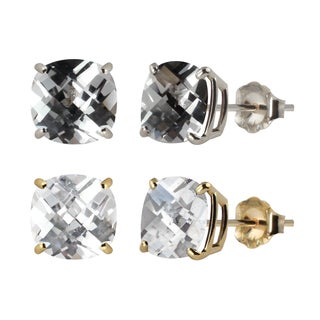 10k White or Yellow Gold 6mm Checkerboard Cushion Lab-created White Sapphire Stud Earrings