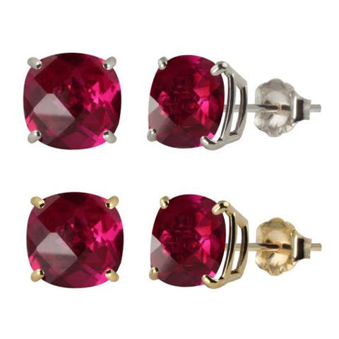 10k White or Yellow Gold 6mm Checkerboard Cushion Lab-created Ruby Stud Earrings - Red