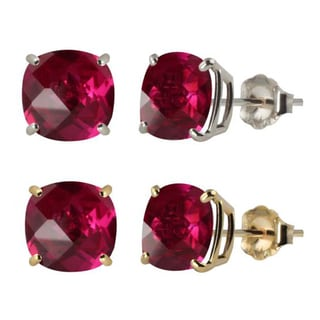 10k White or Yellow Gold 6mm Checkerboard Cushion Lab-created Ruby Stud Earrings