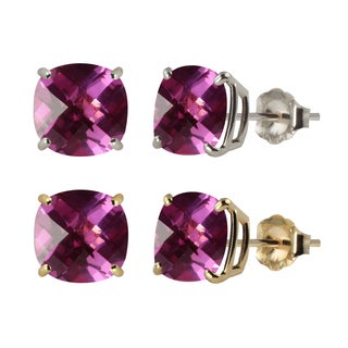 10k White or Yellow Gold 6mm Checkerboard Cushion Created Pink Sapphire Stud Earrings
