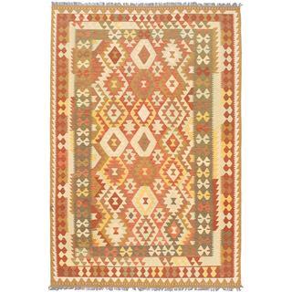 ecarpetgallery Handmade Izmir Brown Wool Kilim Rug (6'8 x 9'9)