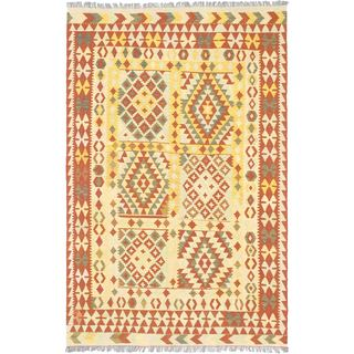 ecarpetgallery Handmade Hereke Yellow Wool Kilim Rug (5'6 x 8'6)