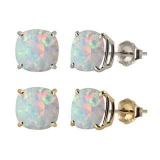 Link to 10k White or Yellow Gold 8mm Checkerboard Cushion Lab-created Opal Stud Earrings Similar Items in Earrings