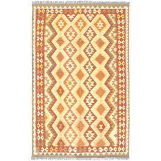 ecarpetgallery Handmade Anatolian Beige Wool Kilim Rug (5'2 x 8'2)