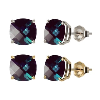 10k White or Yellow Gold 8mm Checkerboard Cushion Lab-created Alexandrite Stud Earrings