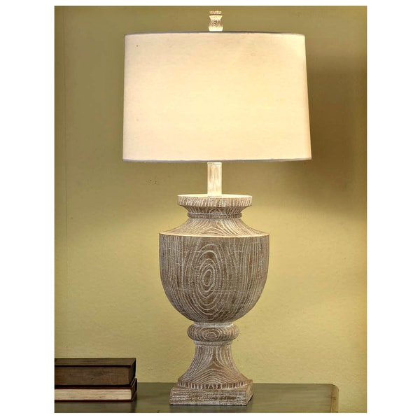 Avalon Carved Bleached Wood 34.5-inch Table Lamp