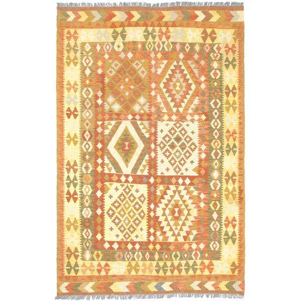 ecarpetgallery Handmade Hereke Yellow Wool Kilim Rug (5'4 x 8'3)