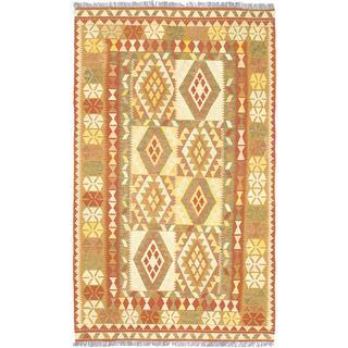 ecarpetgallery Handmade Hereke Brown Wool Kilim Rug (5'1 x 8'6)