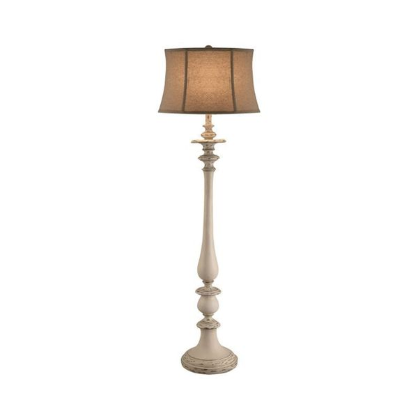 Crestview Collection 60.25-inch Worn Gray and White Floor Lamp