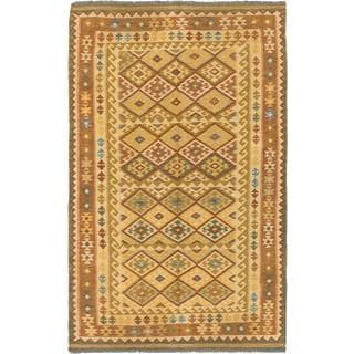 ecarpetgallery Handmade Anatolian Brown and Yellow Wool Kilim Rug (5'2 x 8'5)