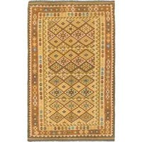 ecarpetgallery Handmade Anatolian Brown and Yellow Wool Kilim Rug (5'2 x 8'5)