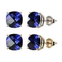 10k White or Yellow Gold 8mm Checkerboard Cushion Lab-created Blue Sapphire Stud Earrings