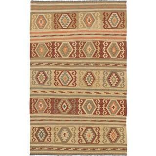 ecarpetgallery Handmade Kashkoli Beige and Orange Wool Kilim Rug (6'6 x 10')