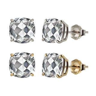 10k White or Yellow Gold 8mm Checkerboard Cushion Lab-created White Sapphire Stud Earrings