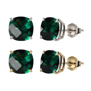 10k White or Yellow Gold 8mm Checkerboard Cushion Lab-created Emerald Stud Earrings