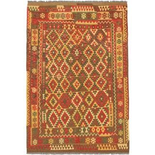 ecarpetgallery Handmade Kashkoli Red and Yellow Wool Kilim Rug (6'9 x 9'8)