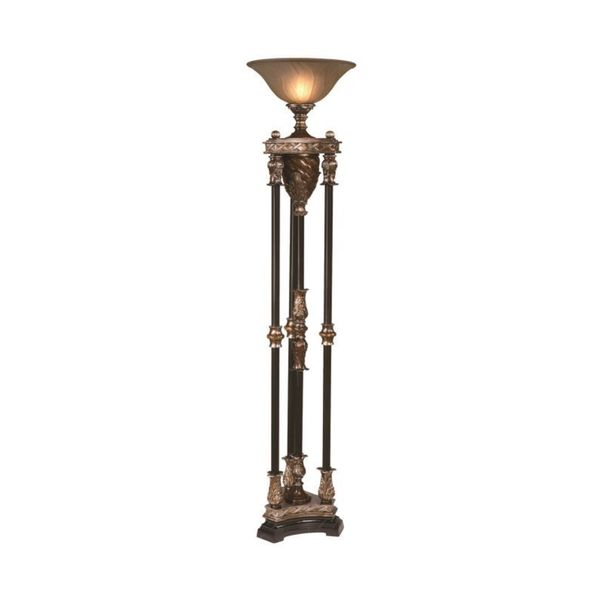 Crestview collection 71 inch walnut and silvered bronze for Overstock bronze floor lamp