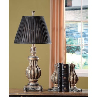Crestview Collection 71-inch Walnut and Silvered Bronze Floor Lamp