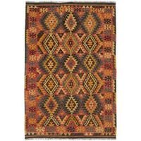 ecarpetgallery Handmade Sivas Brown and Orange Wool Kilim Rug (5'5 x 8'2)