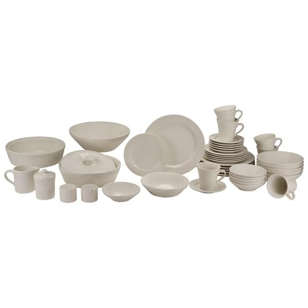 10 Strawberry Street Atlas 45-Piece Ivory Porcelain Dinnerware and Serveware Set