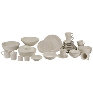 Atlas 45-Piece Ivory Porcelain Dinnerware and Serveware Set