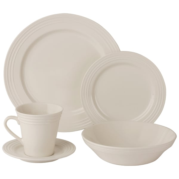 10 Strawberry Street Atlas 20-Piece Ivory Porcelain Dinnerware Set