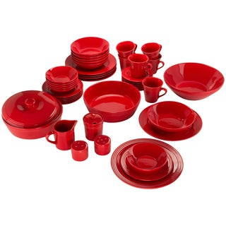 10 Strawberry Street Atlas 45-Piece Porcelain Red Dinnerware and Serveware Set