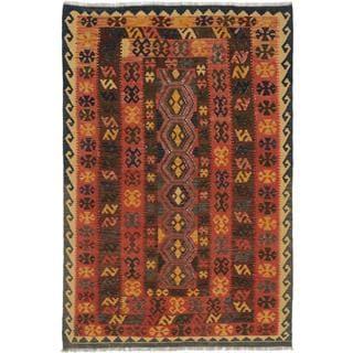 ecarpetgallery Handmade Kashkoli Brown Wool Kilim Rug (5'7 x 8'3)