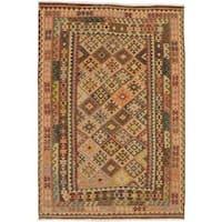 ecarpetgallery Handmade Kashkoli Brown and Yellow Wool Kilim Rug (6'9 x 9'10)
