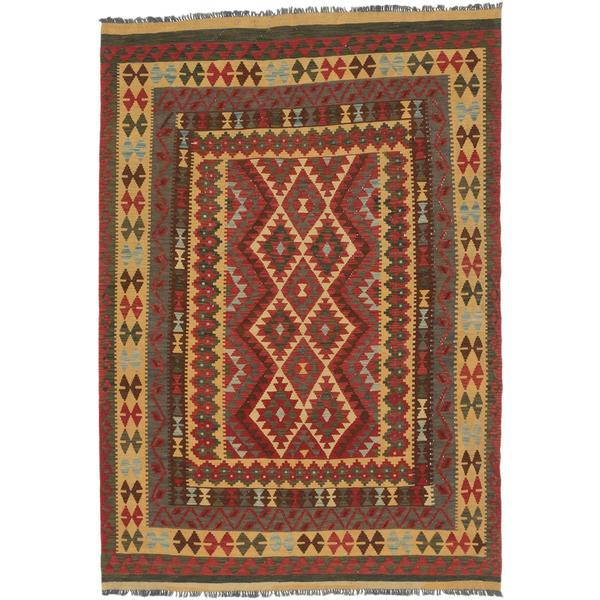 ecarpetgallery Handmade Anatolian Red and Yellow Wool Kilim Rug (5'11 x 8'5)