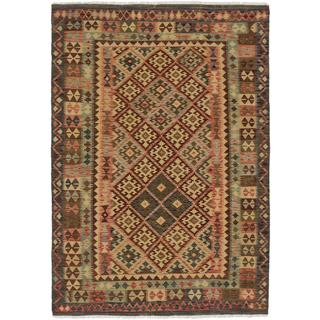 ecarpetgallery Handmade Kashkoli Beige and Brown Wool Kilim Rug (6'8 x 9'7)