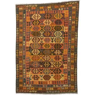 ecarpetgallery Handmade Kashkoli Brown and Orange Wool Kilim Rug (6'6 x 9'7)