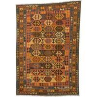 ecarpetgallery Handmade Kashkoli Brown and Orange Wool Kilim Rug (6'6 x 9'7)