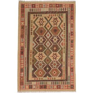 ecarpetgallery Handmade Sivas Green and Red Wool Kilim Rug (6'4 x 9'11)
