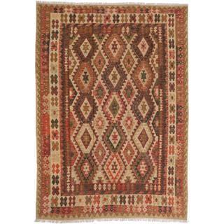 Handmade Ecarpetgallery Anatolian Brown and Red Wool Kilim Rug (6'9 x 9'7)