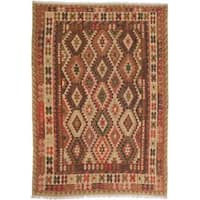 Handmade Ecarpetgallery Anatolian Brown and Red Wool Kilim Rug (6'9 x 9'7)