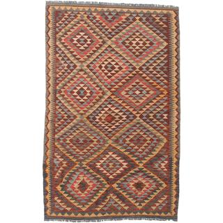 ecarpetgallery Handmade Hereke Red and Yellow Wool Kilim Rug (5'1 x 8'2)