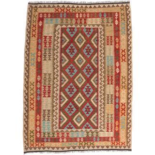 ecarpetgallery Handmade Kashkoli Beige and Red Wool Kilim Rug (6' x 8'1)