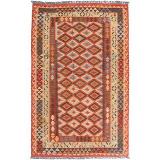 ecarpetgallery Handmade Kashkoli Orange and Red Wool Kilim Rug (5'5 x 8'7)