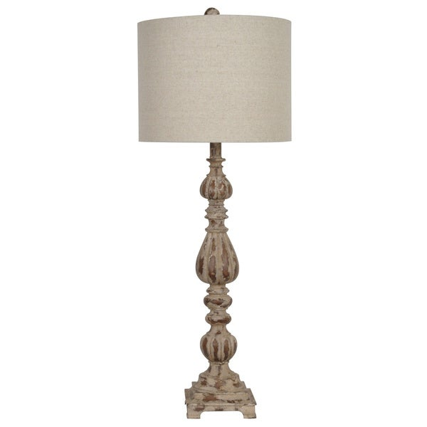 Slender Avian Rustic Wood and White Wash 35-inch Table Lamp