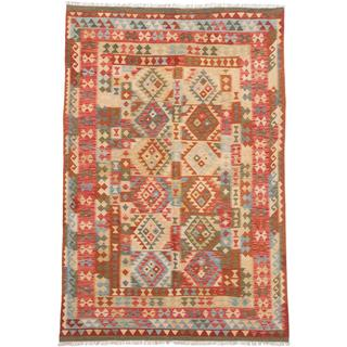 ecarpetgallery Handmade Hereke Beige and Orange Wool Kilim Rug (6'10 x 9'11)