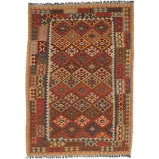 ecarpetgallery Handmade Sivas Red and Yellow Wool Kilim Rug (5'9 x 8'2)