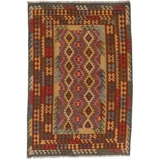 ecarpetgallery Handmade Anatolian Blue and Red Wool Kilim Rug (6'8 x 9'10)