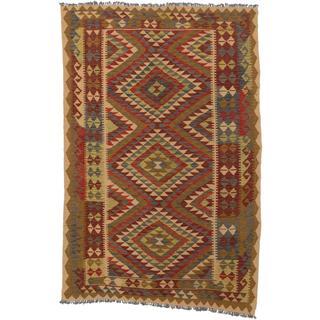 ecarpetgallery Handmade Anatolian Beige and Red Wool Kilim Rug (5'7 x 8'5)