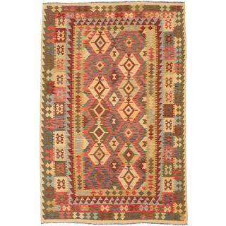 ecarpetgallery Handmade Sivas Red and Yellow Wool Kilim Rug (6'6 x 9'9)